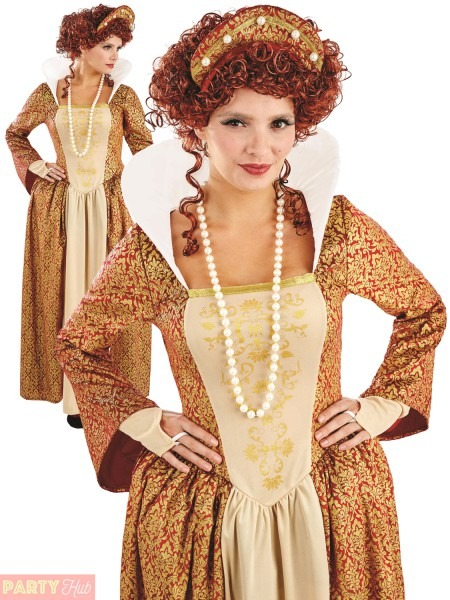 Ladies Tudor Queen Elizabeth Costume Medieval Fancy Dress Womens