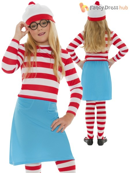 Childs Where's Wally Costume Girls Wenda Fancy Dress Boys Book Day