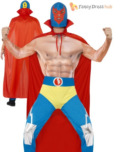 Mens Mexican Wrestler Costume Adults Sports Fighter Fancy Dress