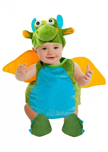 Fluffy Green Dragon Baby Costume