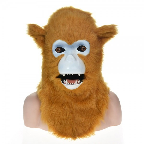 Funny Full Head Macaque Halloween Animal Mask With Mover Mouth