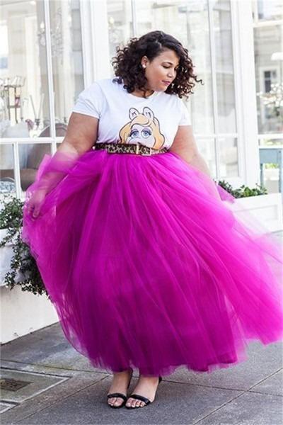 Fushia Tutu Tulle Plus Size Skirts High Waist Ankle Length Long