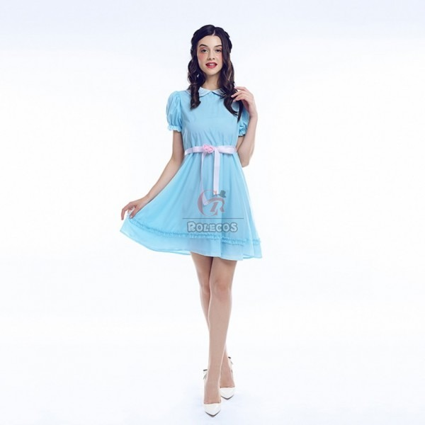 The Shining Grady Twins Lisa Louise Cosplay Costume Blue Dress