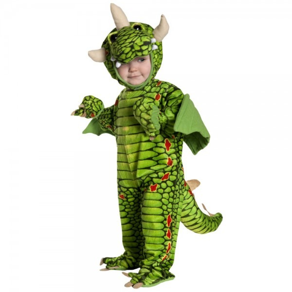Green Dragon Toddler Costume Boys Girls Halloween Dinosaur, Green