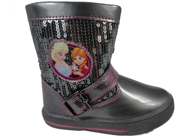 Disney Girls Frozen Boots Black Pewter Sequin Anna Elsa Zip Up
