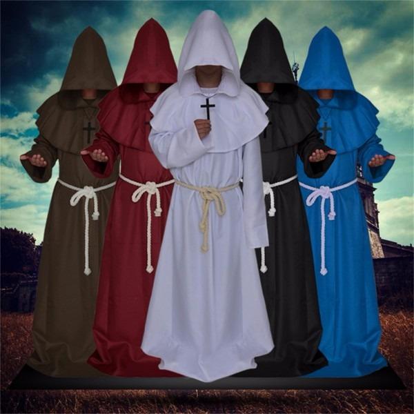 Halloween Costume Dress Medieval Monks Monk Robe Sorcerer Serving