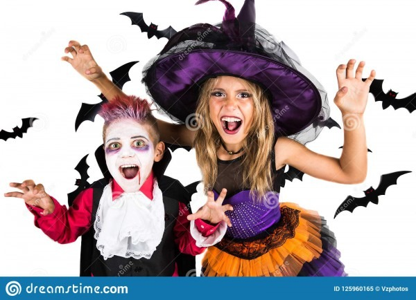 Halloween Kids, Happy Scary Girl And Boy Dressed Up In Halloween