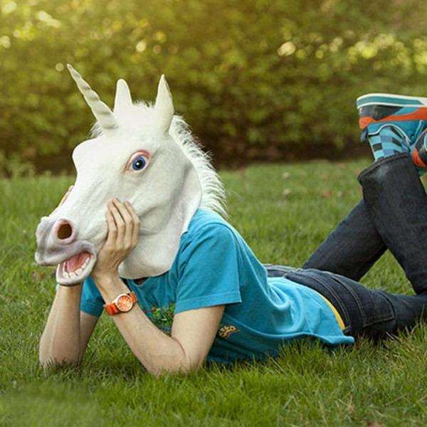 Halloween White Unicorn Cartoon Animal Horse Head Mask Latex For