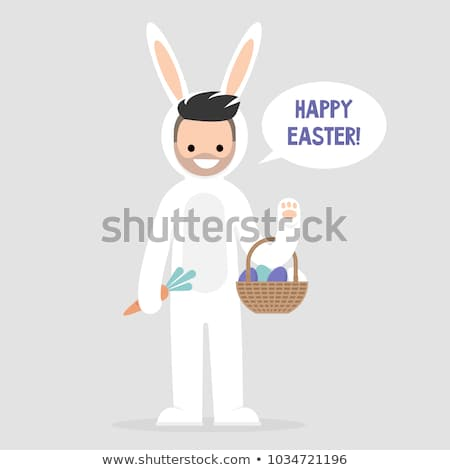 Happy Easter Young Male Character Wearing Stock Vector (royalty