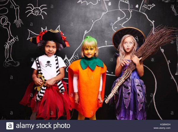 Happy Friends Wearing Halloween Costumes Stock Photo  164989261