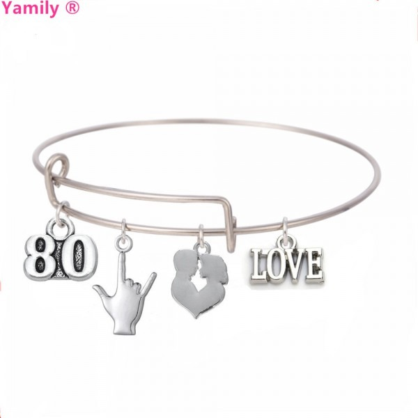 Yamily 80 Love Bracelet Summer Style Bangle Adjust Wire 80 Sign