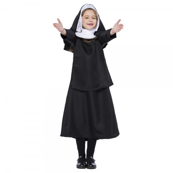 Kid Girls Halloween Nun Costume Black Hooded Shawl Gown Dress Set