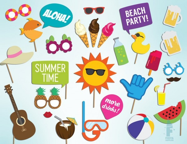 Pool Party Props Printable Summer Time Party Photo Booth