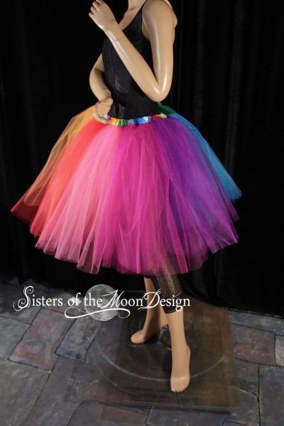 Rainbow Tutu Tulle Skirt Knee Length Adult Pride Run Race
