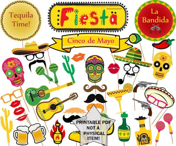 Mexican Fiesta Photo Booth Props  Printable Mexican