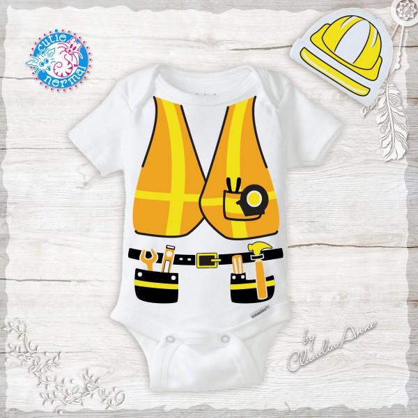 Unique Construction Worker Costume Tool Belt Vest & Hard Hat