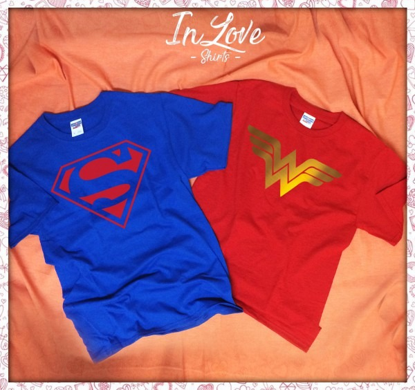 Couples Superman And Wonder Woman Logo T