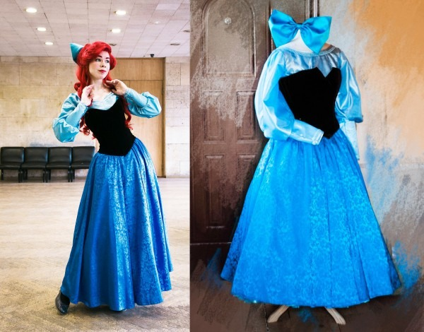 Ariel Blue Dress Cosplay Disney Princess Halloween Costume For