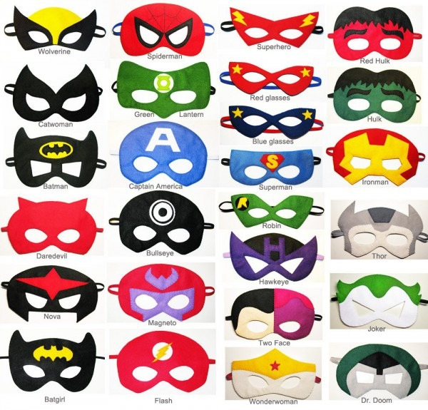 7 Felt Superhero Masks Party Pack Wholesale You Choose