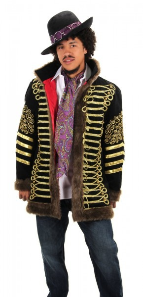 Deluxe Jimi Hendrix Black & Gold Jacket Premium Costume Adult Mens
