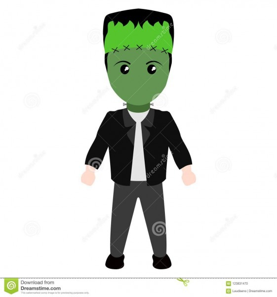 Kid On A Zombie Costume Icon  Halloween Stock Vector