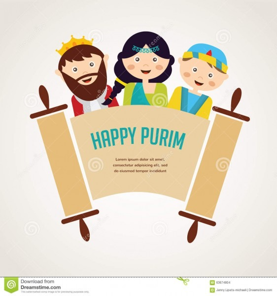 Kids Wearing Costumes From Purim Story  Arranged Stock Vector