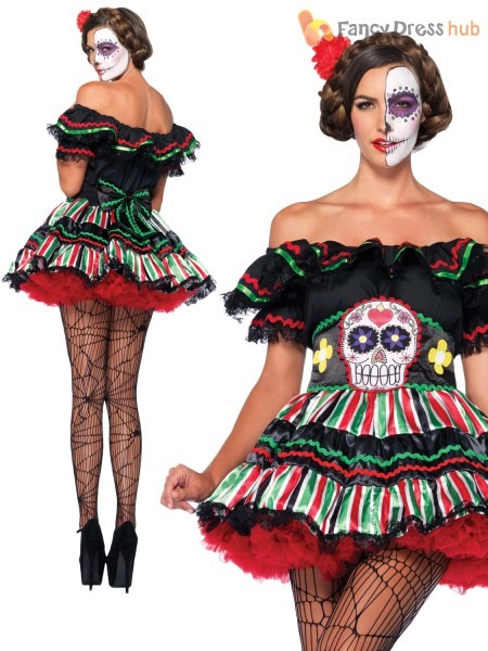 Ladies Leg Avenue Mexican Day Of The Dead Fancy Dress, Mexican