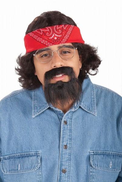 Cheech And Chong Bandana Beard Moustache Goatee Wig Adult Costume
