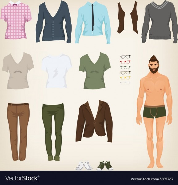 Male Hipster Dress Up Paper Doll With An Vector Image
