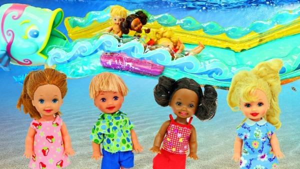 Barbie Kelly Water Slide!!! Swimming Pool Fun & Roller Coaster Car