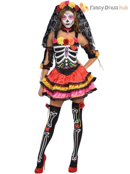 Mens Ladies Day Of The Dead Mexican Halloween Fancy Dress, Mexican
