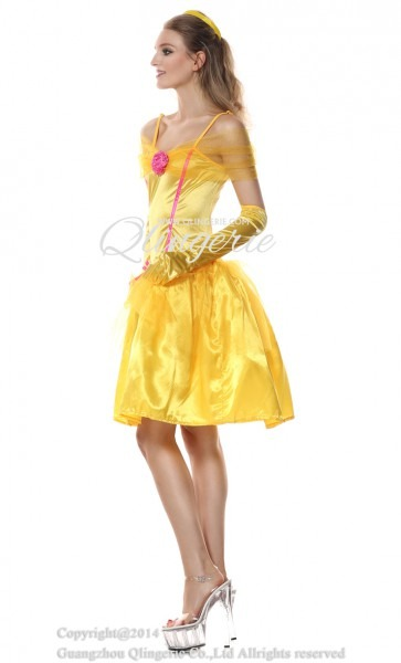 Adult Yellow Princess Belle Off Shoulder Midi Dress Role Play