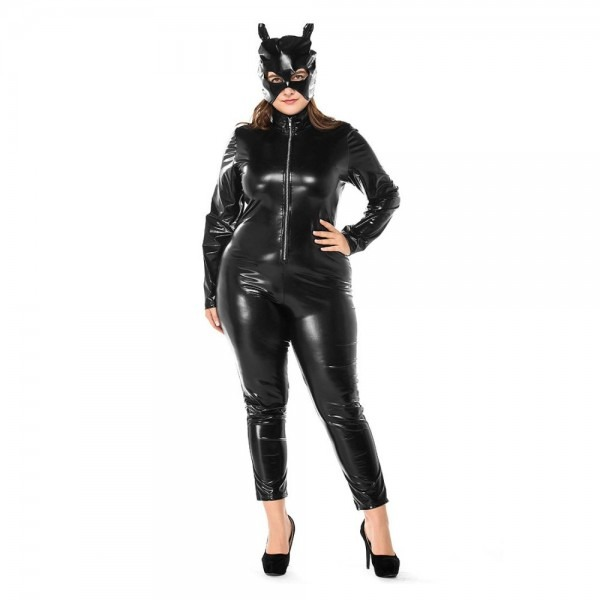 Plus Size Halloween Catwoman Costume Black Faux Leather Catsuit