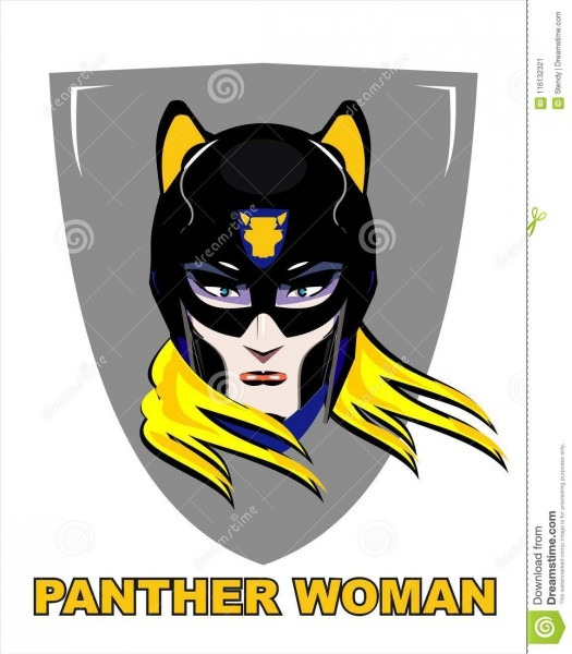 Blonde Female Superhero With The Panther Mask Stock Vector