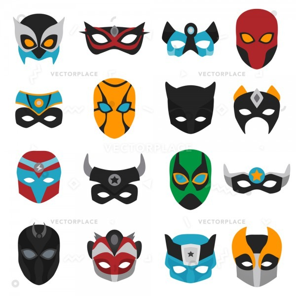 Set Female Male Superhero Masks Various Vector Illustration 16057