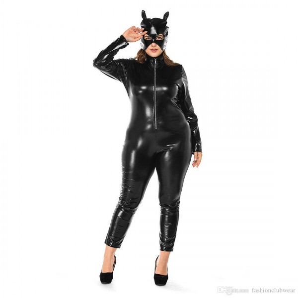 Plus Size Halloween Catwoman Costume Sexy Black Faux Leather