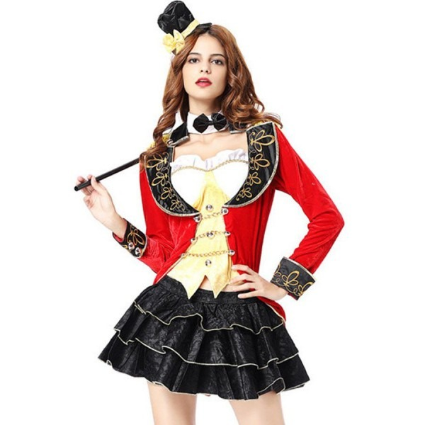 Red Deluxe Circus Women Ringmaster Cosplay Costume  2red37973