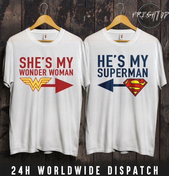 She's My Wonder Woman Superman T Shirt Valentines Day Wifey