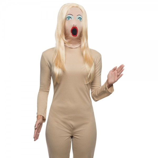 Blow Up Doll Mask With Wig Sassy Female Woman Sexy Costume Face