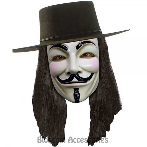 W310 V For Vendetta Black Bob Movie Mens Adult Costume Wig