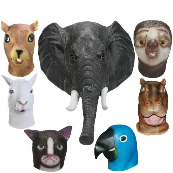 Full Face Latex Masks Halloween Animal Mask Cosplay Elephant