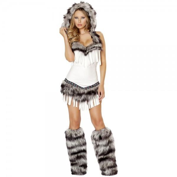 Sexy Eskimo Costume Adult Womens Indian Girl Halloween Fancy Dress