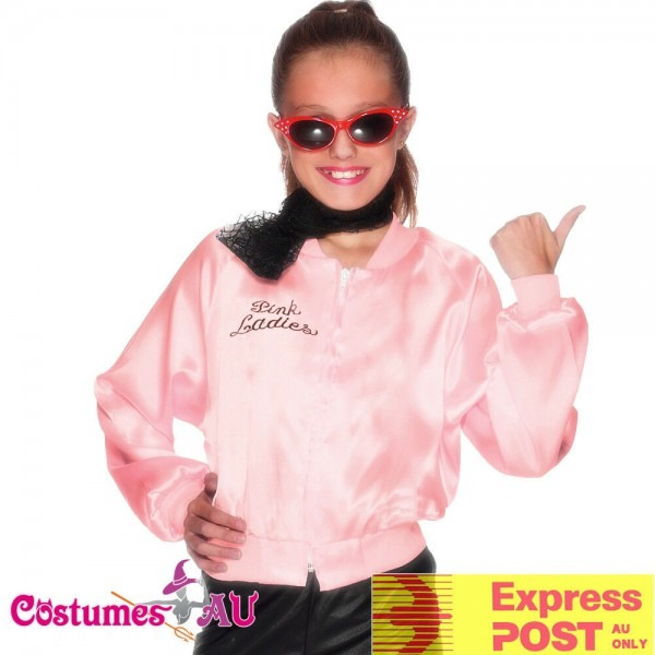 Girls Kids 50's Child Grease Pink Lady Ladies Jacket Costume 50s