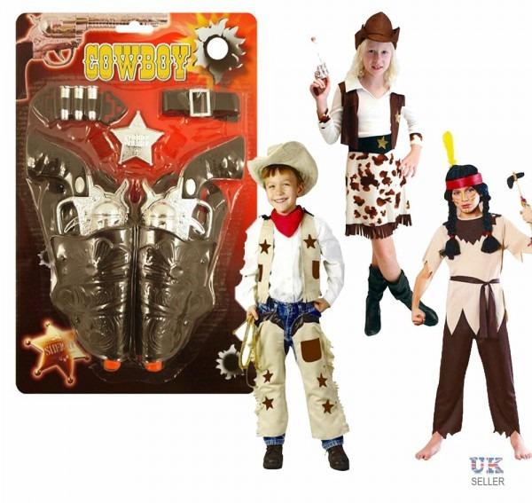 Boys Girls Kids Cowboy Gun Set Holster Fancy Dress Costume Party