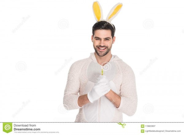 Smiling Young Man In Costume Of Rabbit Stock Image