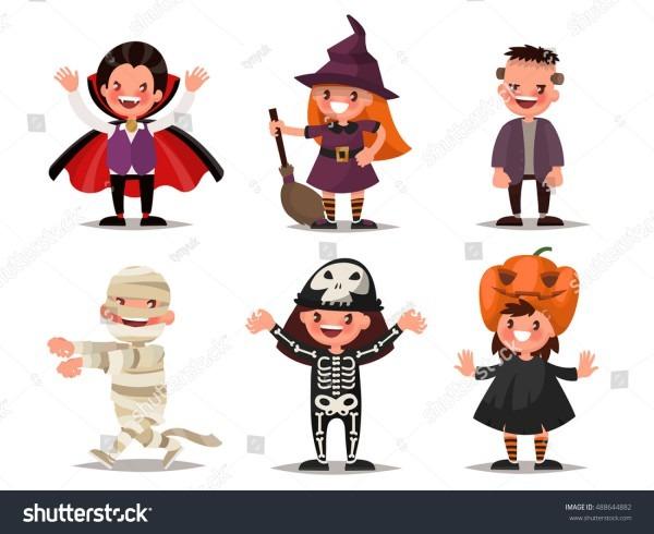 Set Children Characters Halloween Costumes Dracula Stock Vector