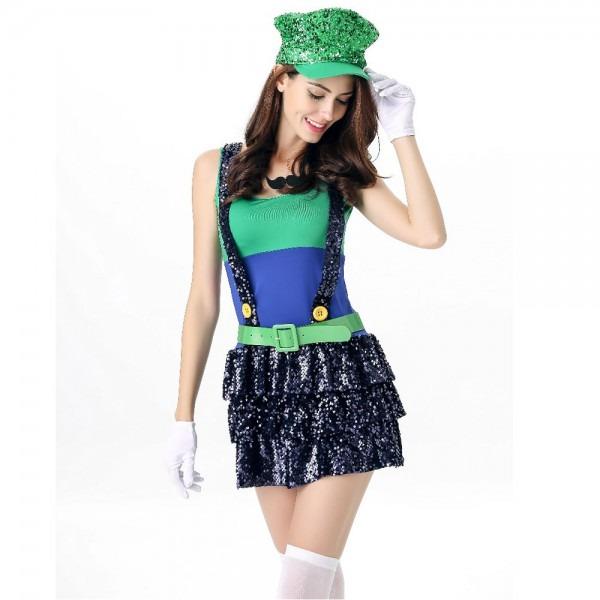Super Mario Costume Women Luigi Costume Clothing Sexy Plumber