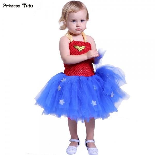 Superhero Girls Tutu Dress Kids Cosplay Wonder Woman Costume Girl