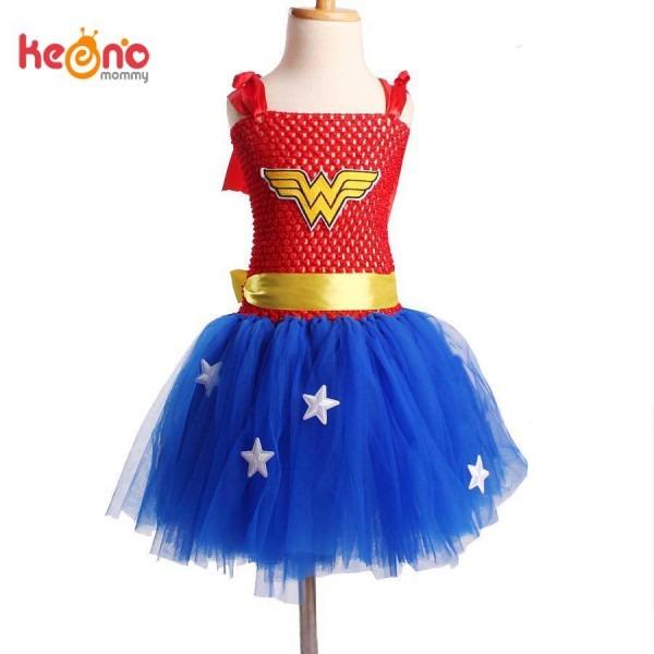 Superhero Wonder Woman Girl Tutu Dress Kids Halloween Dress Up