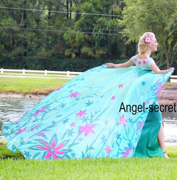 J929 Spring Frozen Fever Elsa Green Dress Whole Set 2 6 Meter